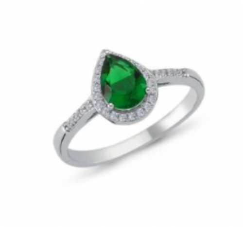 Ladies Green Silver Cluster Ring Pear Shaped